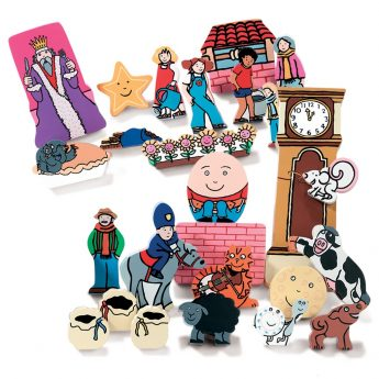 "26 wooden figures from 8 nursery rhymes (1-5"")"