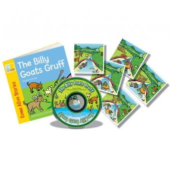 The Billy Goats Gruff rhyming story book with audio CD and story sequencing cards