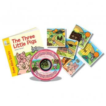 The Three Little Pigs rhyming story book with audio CD and story sequencing cards