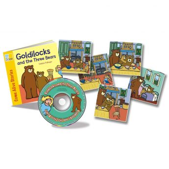 Goldilocks and the Three Bears rhyming story book with audio CD and story sequencing cards