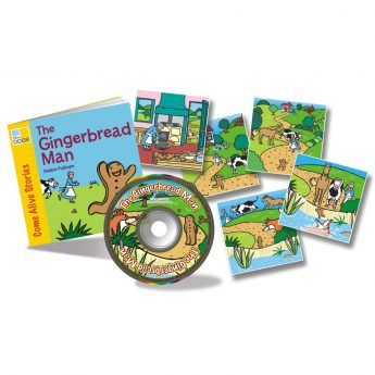 The Gingerbread Man story book with audio CD and story sequencing cards