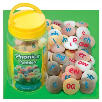 "44 phonic pebbles for active letter and sound recognition (each pebble measures approx 1.5"")"