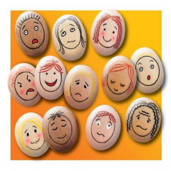 "Emotion Stones - 12 Feelings Pebbles for early childhood (each pebble measures approx 1.75"")"