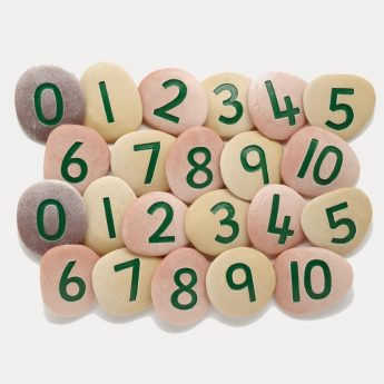 Jumbo Number pebbles -22 pebbles: two sets of 0 to 10 (2.5-3 inches)