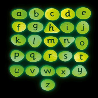 Have fun with glow-in-the-dark alphabet pebbles - 26 lowercase letter pebbles (approx 2 inches)