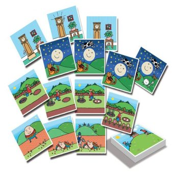 Nursery rhyme cards for sequencing six popular rhymes. Twenty-two cards (5 x 5 inches)