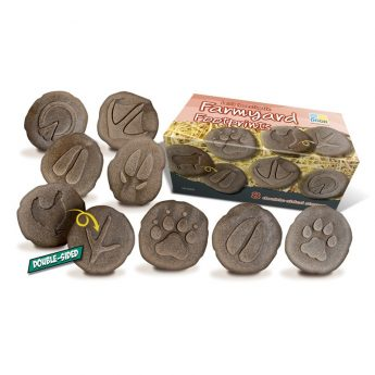Eight double-sided farmyard animal footprints (approx 3 inches)