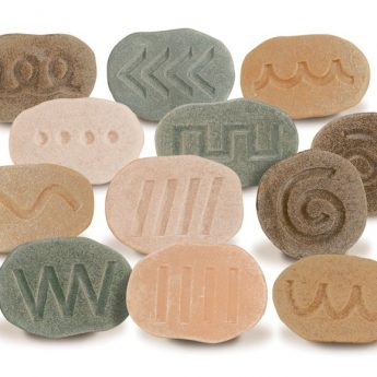 """Twelve tactile patterned stones for pre-writing activities (4-5"""")"""