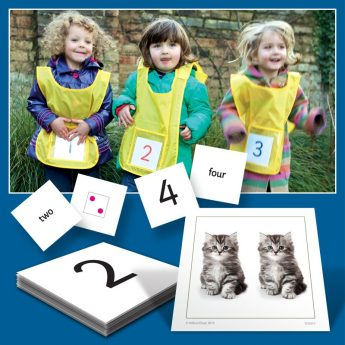 6 active learning vests and number cards for active math learning