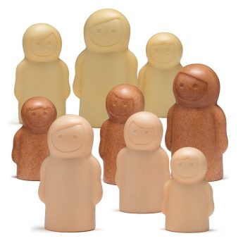 Different-sized play figures in a range of colours