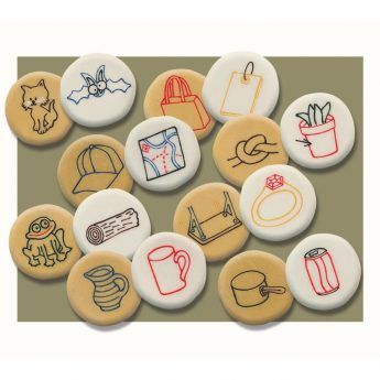 "Set of 16 stones - 8 pairs of illustrated rhyming pebbles (approx. 2"")"